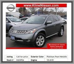 2007 Nissan Mu2007 Nissan Murano S SUV   Fold Forward Seatback Rear Seats, Trip Computer, Tires: Width: 235 Mm, Independent Front Suspension Classification, Front Leg Room: 43.4, Cargo Tie Downs, Front Shoulder Room: 59.6, Tilt-Adjustable Steering Wheel, Remote Power Door Locks, Leather/Metal-Look Steering Wheel Trim, Diameter Of Tires: