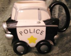 Police Car Coffee Mug Wheelees Rolling Cup wheels  Applause 27118 Rare 1989…