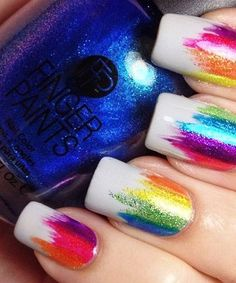 Rainbow Nails: Winning Streak This colorful rainbow nail art will help you stand out wherever you go Cute Nail Art, Cute Acrylic Nails, Cute Nails, Funky Nails, Trendy Nails, Funky Nail Art, Best Nail Art Designs, Rainbow Nail Art Designs, Colourful Nail Designs