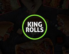 Identity Design and Packaging Design for King Rolls.King Rolls is a healthy-food concept that has created a healthy and nutritionally balanced approach to traditional kebab. Food Logo Design, Logo Food, Identity Design, Visual Identity, Brand Identity, Fast Food Logos, 10 Logo, Food Concept, Jobs Apps