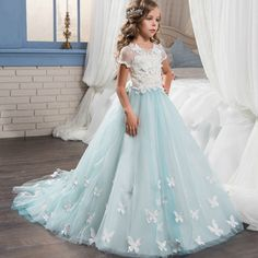 >> Click to Buy << Short Sleeves Pretty Lace Little Bride Flower Girl Dresses With Train Graduation Kid Glitz Girls Pageant Prom Dresses Size 8 12 #Affiliate