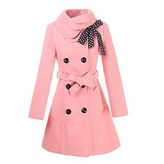 Women's Double-breasted Trench Coat with Polka Dots Bownot