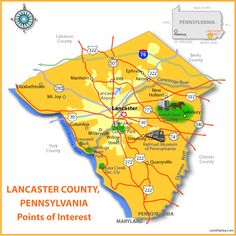 Lancaster County, Point of Interest Map