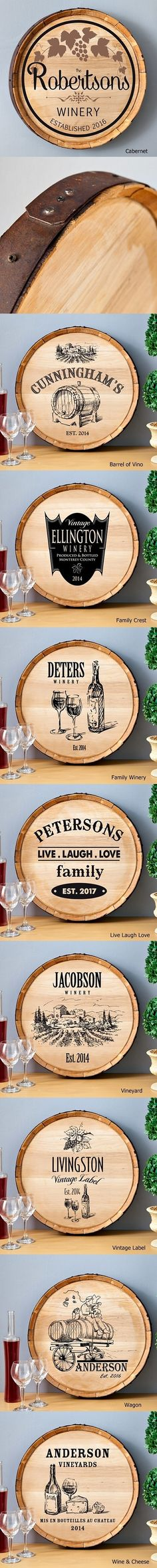 View and Purchase Personalized Wooden Wine Barrel Signs (9 Designs) from Party Favor Source