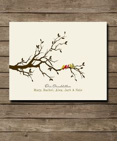 """Personalized Grandparents Gift, Gift for Grandma and Grandpa- Family Tree with birds and names, custom colors, fonts 8 x 10"""" on Etsy, $20.00"""