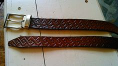 CONTEMPORARY Leather everyday belt. Pressed during reenactive event, so I had to use crude, improvised wooden punches. One of my first works.