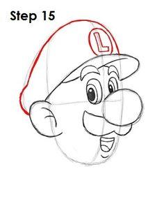 How to Draw Luigi Step 15