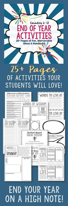 Make the end of the year stress-free and enjoyable with this 25+ page packet of fun, thought-provoking activities and handouts that will enable your high school and middle school students to reflect upon their year, what they have learned in your class, and how they have grown as students and individuals.