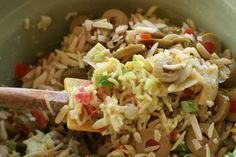 Old time favorite Rice a Roni salad. Only I used sliced black olives & no curry. With or without cubed chicken.