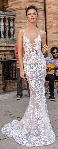 berta fall 2018 bridal sleeveless thin strap deep plunging sweetheart neckline elegant sexy fit and flare wedding dress open scoop back sweep train (10) mv -- Berta Fall 2018 Wedding Dresses