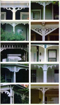 wood trim ideas for the front porch From a July 1981 article in House & Garden, a host of fun ways to dress up your porch with decorative trim.From a July 1981 article in House & Garden, a host of fun ways to dress up your porch with decorative trim. Cottage Porch, Home Porch, Victorian Porch, Victorian Homes, Victorian Farmhouse, Farmhouse Front, Porche Chalet, Porch Trim, Porch Roof