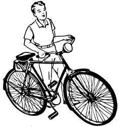 Free Vector Art: Vintage Boy with Bike