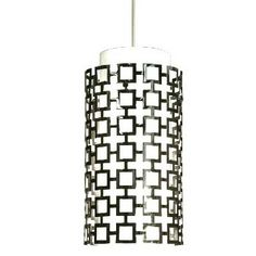 Features:  -One light pendant.  -Contemporary style.  -White shade.  Product Type: -Mini pendant.  Style (Old): -Modern.  Shade Material: -Glass/Metal.  Shade Color: -White.  Material: -Metal/Glass.