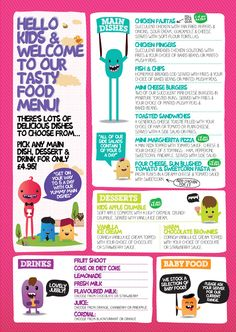 "#menu #food Kids Food Menu via diagramdesign.co.uk. I like the different ""sections"". The color scheme will be toned down but the design is nice."