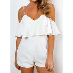 Rotita White Off The Shoulder Flounce Layered Romper ($23) ❤ liked on Polyvore featuring jumpsuits, rompers, white, white rompers, ruffle rompers, v neck romper, flounce romper and patterned romper