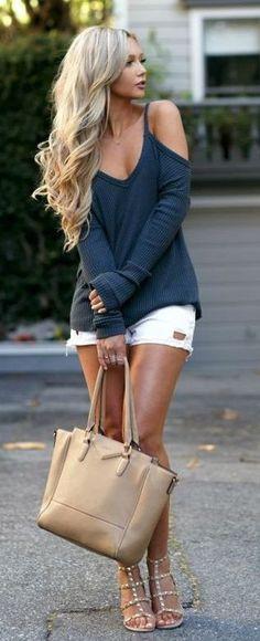 #spring #outfits Navy Cold Shoulder Knit + White Denim Short + Studded Sandals
