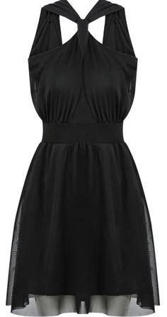 Black Sleeveless Cut Out Chiffon Dress