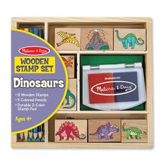Melissa & Doug - Dinosaur Stamp Set 2  #entropywishlist #pintowin  Despite my best effort I'm still walking around with a 2 day old stamp of a kangaroo on my cheek. WASHABLE stamps are a must!!