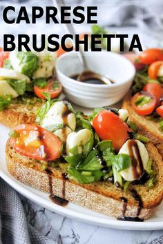 Easy caprese bruschetta recipe which tastes FANTASTIC!! For the perfect appetizer, brunch or light lunch, this bruschetta with balsamic drizzle is where it's at!! #easyrecipes #onthetable #appetizer #snacks #bruschetta