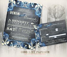 Denim and Diamonds Party Invitations Printable Invitation Diamond