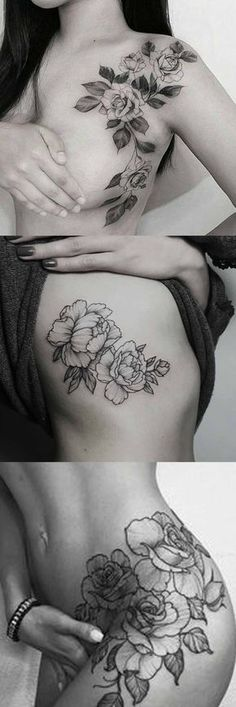 Wild Rose Tattoo Ideas at MyBodiArt.com - Shoulder Flower Tatt - Black Thigh Rib Tat #FlowerTattooDesigns #tattooideas
