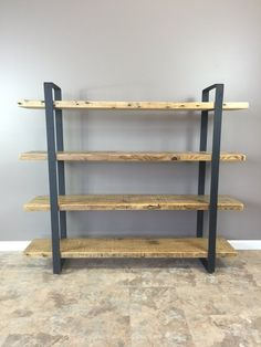 Reclaimed Wood Shelf/Shelving Unit with 4 Shelfs-industrial Urban look with flat Steel - Pallet Decor Furniture, Pallet Decor, Shelves, Wood Shelving Units, Steel Furniture, Shelving Unit, Wood Shelves, Old Wood Table, Metal Furniture