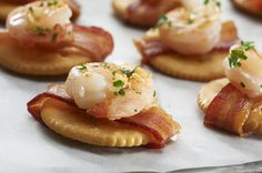 Ritz crackers with shrimp scampi and bacon.