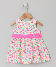 Take a look at this Pink Watercolor Flower Bow Dress - Infant, Toddler & Girls by Beebay on #zulily today!