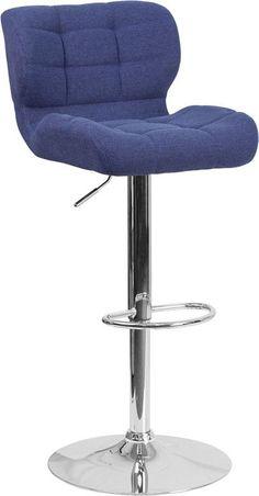 Tufted Blue Fabric Barstool