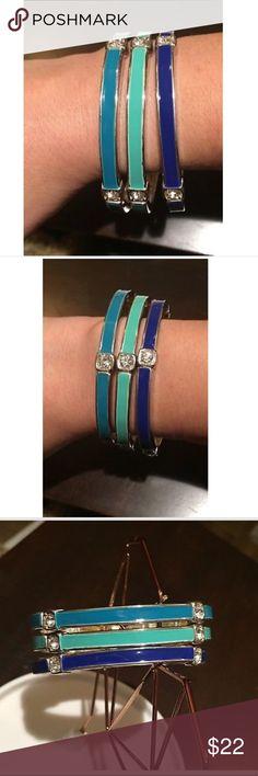Premier Designs 3 Stretch Bracelets Set Ombré Premier Designs Ombre Blue Turquoise W/Crystals, 3 Stretch Bracelets Set, RV $48 Premier Designs Jewelry Bracelets