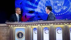 """U.S. President Barack Obama (l.) speaks with Stephen Colbert (r.) during the filming of """"The Colbert Report"""" in Washington, in which the chief executive parodied his conservative critics on matters from  immigration to Obamacare. EFE"""