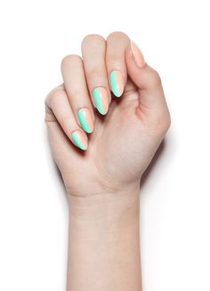 Working Vacation nail wraps. A chill nude color for the office, mixed with mint green pop in this gorgeous nail art design for a unique manicure. | NCLA 2016