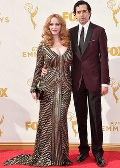 Emmys 2015 Christina Hendricks Geoffrey Arend   Brides.com