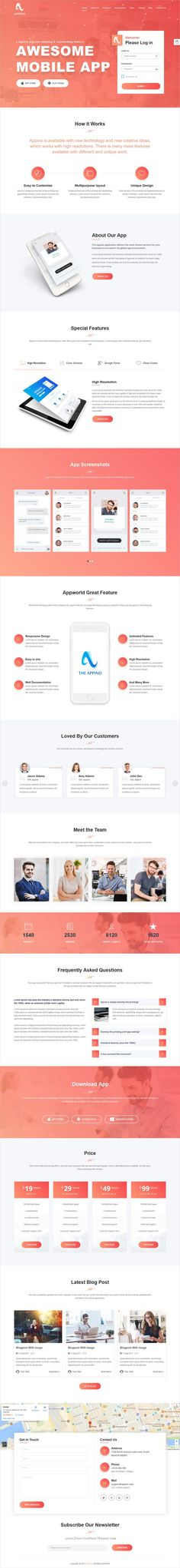 Appino is clean and modern design responsive #bootstrap template for mobile #app landing page website download now..
