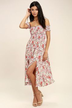 Lulus Exclusive! The View from the Meadow Cream Floral Print Off-the-Shoulder Dress enchants with its simple sophistication! A kaleidoscope of pink, orange, red, and green floral print covers woven rayon as it forms a smocked bodice with short, off-the-shoulder sleeves. Flowy midi skirt has twin side slits.