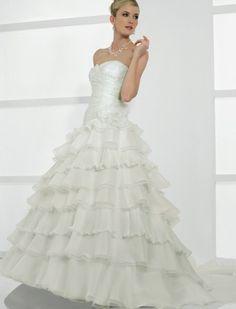 $287.77 Organza Strapless Soft Neckline Bodice and A-line Ruffles princess princess wedding dresses