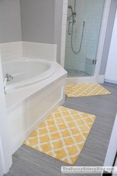 InterDesign Microfiber Rectangular Chevron Rug Light GrayCoral - Gray and yellow bathroom rugs for bathroom decor ideas