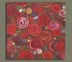 ROSES painting abstract painting of roses by SageMountainStudio, $249.00