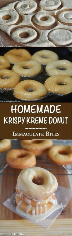 May 2017 - Krispy Kreme Doughnut Recipe(Copy Cat) -- Light and fluffy donuts topped with a rich glaze on top that will melt in your mouth. Tastes as good as the store-bought Krispy Kremes! Just Desserts, Delicious Desserts, Dessert Recipes, Yummy Food, Recipes Dinner, Cocktail Recipes, Dinner Ideas, Breakfast Recipes, Weight Watcher Desserts