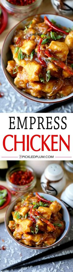 Empress Chicken - Easy sweet and savory chicken stir fry ready in only 20 minutes from start to finish. We love this as a take to work lunch! Chicken, Easy, Chinese, Recipe   pickledplum.com