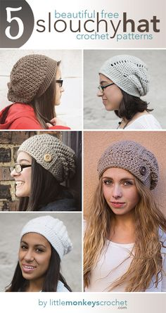 5 Beautiful + Free Slouch Hat Patterns | Free Slouchy Hat Crochet Patterns by Little Monkeys Crochet ༺✿ƬⱤღ http://www.pinterest.com/teretegui/✿༻