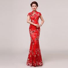 2013 summer fashion of improved cheongsam the bride married cheongsam vintage lace red
