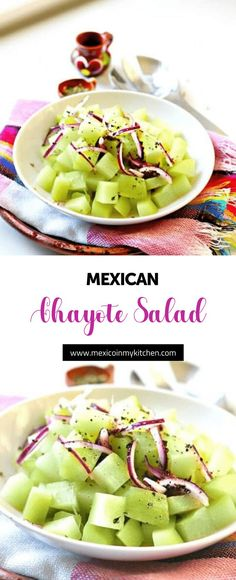 How to make Chayote Salad │Chayote Salad Recipe Spinach Salad Recipes, Chicken Salad Recipes, Healthy Salad Recipes, Broccoli Salad, Mexican Salads, Mexican Food Recipes, Buffalo Chicken Pasta Salad, Eating Vegetables, Veggies