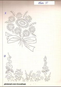 Simple Embroidery patterns . These can also be used for silk ribbon embroidery ! .... Plate # 57