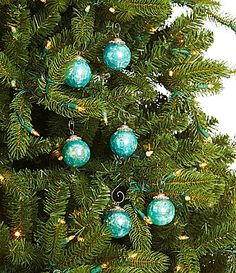 Dillard´s Trimmings Religious Collection Crackled Turquoise Ball Ornament Set