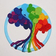 boom van punnikslierten of draad wel in groen-bruin