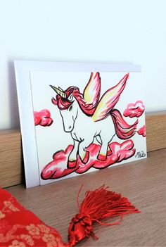 "Carte postale aquarelle ""Pégase """