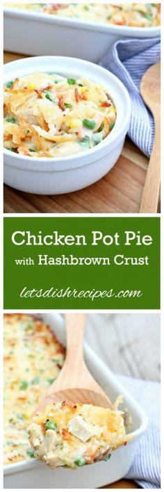 Cheesy chicken pot pie with hashbrown crust