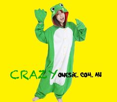 Frog Onesie. 25% off EVERYTHING in store. Free Express Delivery Australia-wide. Visit www.crazyonesie.com.au for more details. Visit our Facebook page https://www.facebook.com/crazyonesie for exclusive competitions and discounts