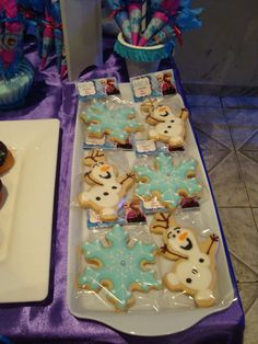 Fun cookies at a Frozen birthday party! See more party planning ideas at CatchMyParty.com!
